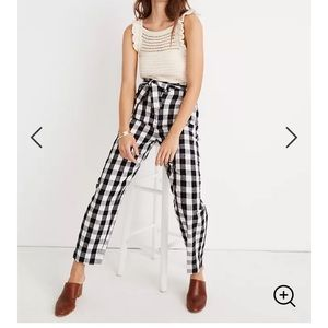 Madewell gingham linen cotton paperbag pants